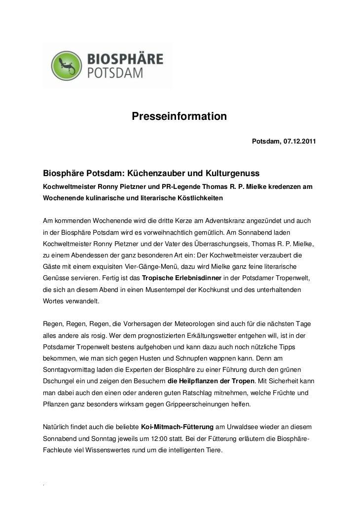 Presseinformation                                                                        Potsdam, 07.12.2011Biosphäre Pots...