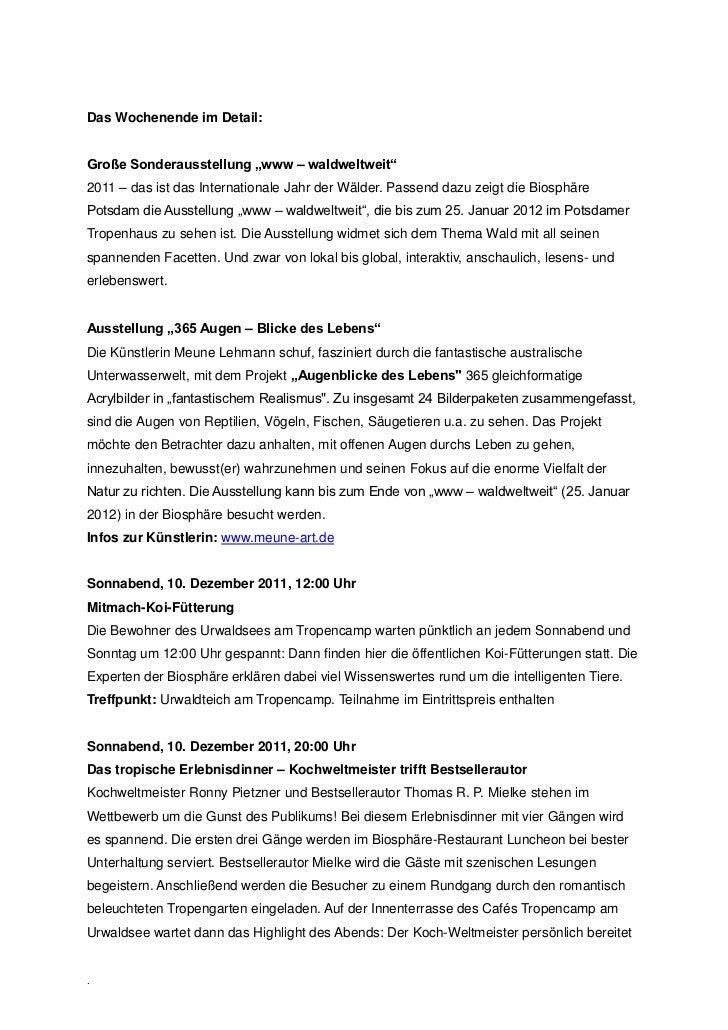 """Das Wochenende im Detail:Große Sonderausstellung """"www – waldweltweit""""2011 – das ist das Internationale Jahr der Wälder. Pa..."""