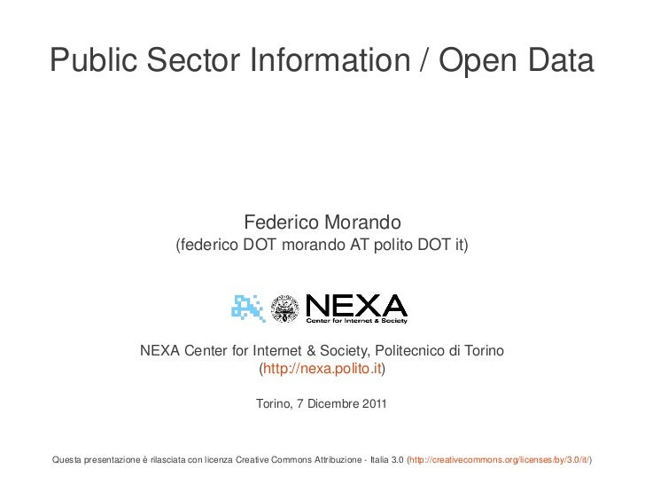 Public Sector Information / Open Data                                                    Federico Morando                 ...