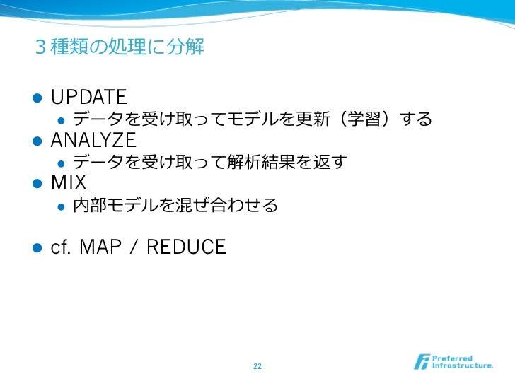 3種類の処理理に分解l   UPDATE      l   データを受け取ってモデルを更更新(学習)するl   ANALYZE      l   データを受け取って解析結果を返すl   MIX      l   内部モデ...