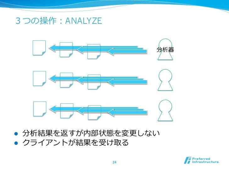 3つの操作:ANALYZE                         分析器l   分析結果を返すが内部状態を変更更しないl   クライアントが結果を受け取る                  24