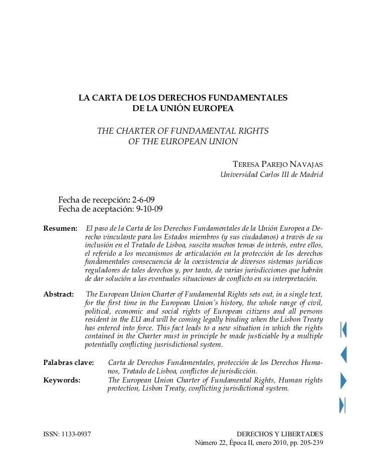 LA CARTA DE LOS DERECHOS FUNDAMENTALES                      DE LA UNIÓN EUROPEA                  THE CHARTER OF FUNDAMENTA...
