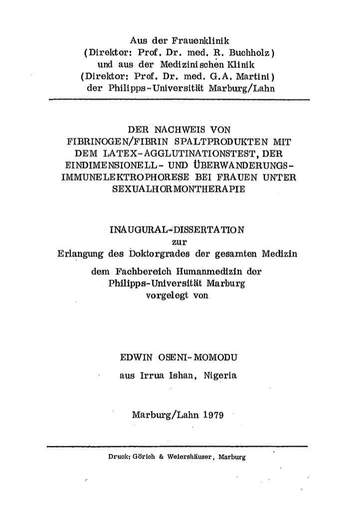 Aus der Frauenldinik     (Direktor: Prof. Dr. med. R. Buchholz)        und aus der Medizinischen Klinik    (Direktor: Prof...