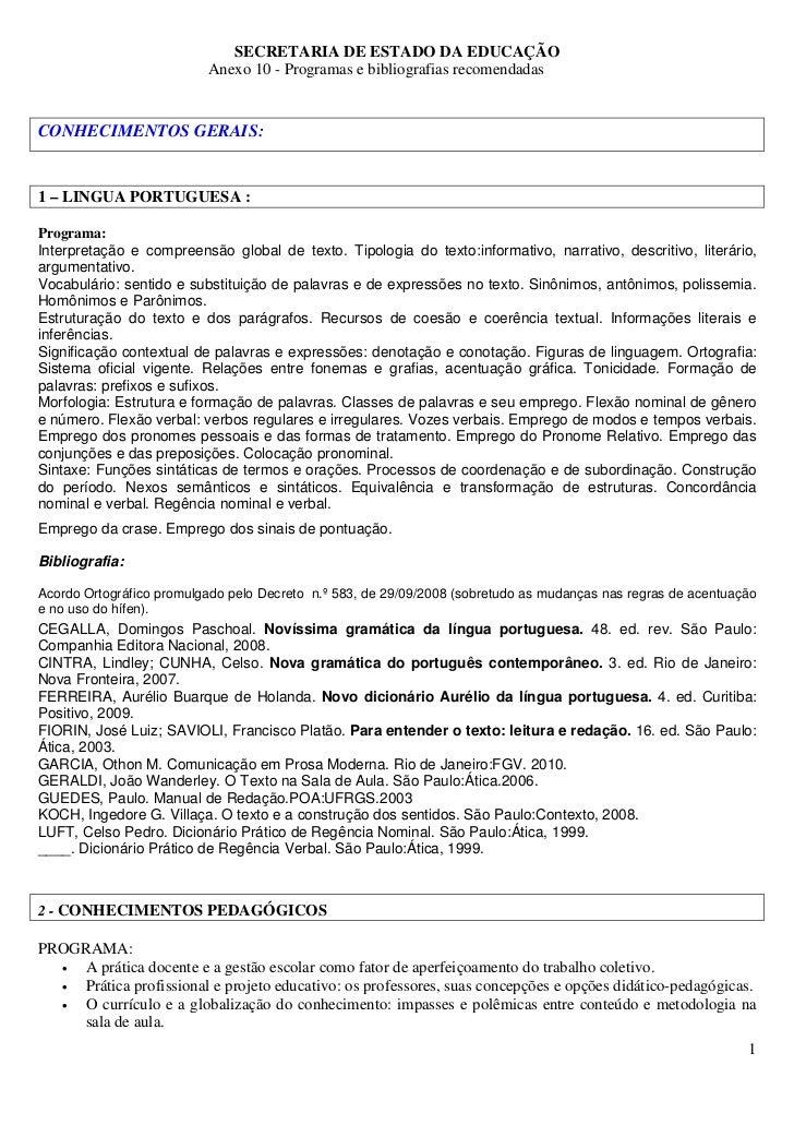 SECRETARIA DE ESTADO DA EDUCAÇÃO                          Anexo 10 - Programas e bibliografias recomendadasCONHECIMENTOS G...