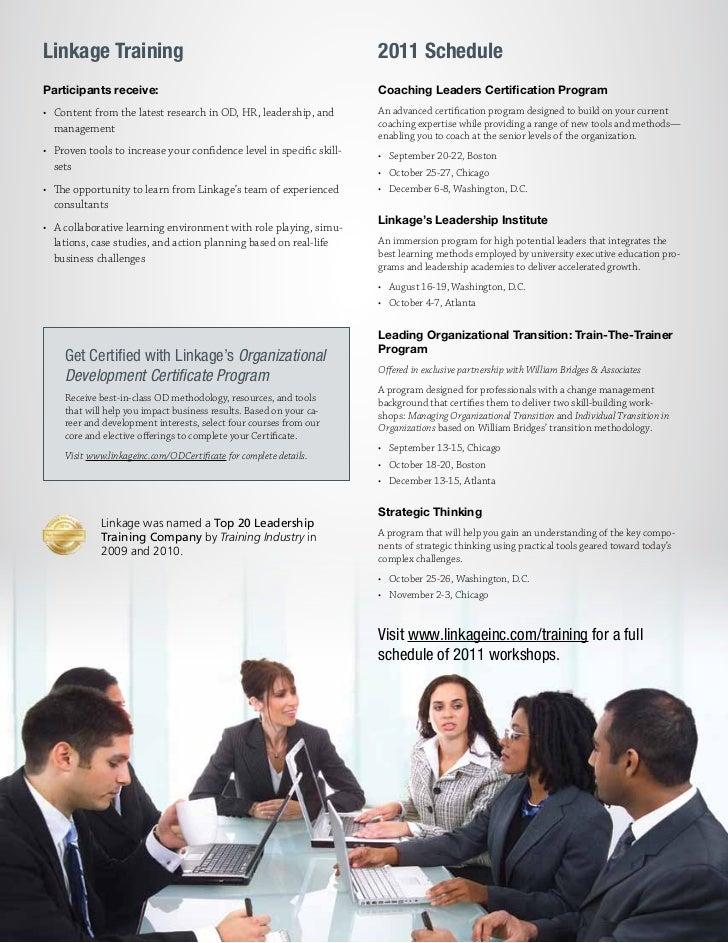 Linkage Training                                                       2011 ScheduleParticipants receive:                 ...