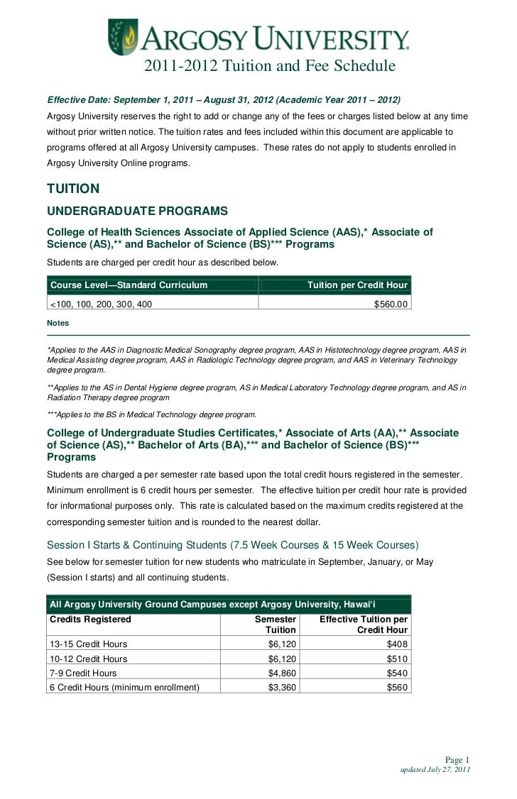 2011-2012 Tuition and Fee ScheduleEffective Date: September 1, 2011 – August 31, 2012 (Academic Year 2011 – 2012)Argosy Un...