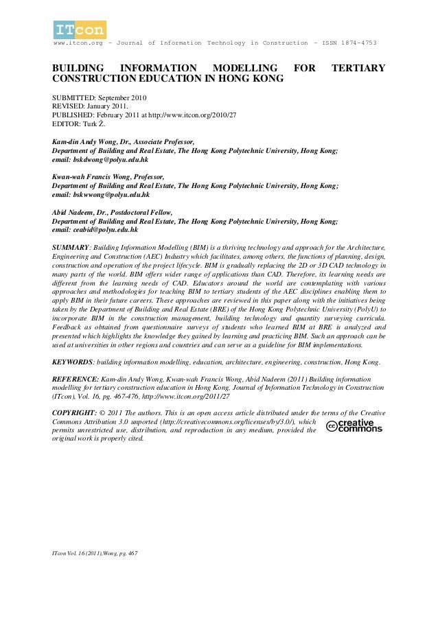 www.itcon.org - Journal of Information Technology in Construction - ISSN 1874-4753BUILDING  INFORMATION    MODELLING  FOR ...