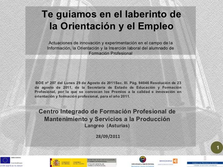 28/09/2011 Centro Integrado de Formación Profesional de Mantenimiento y Servicios a la Producción Langreo  (Asturias) BOE ...