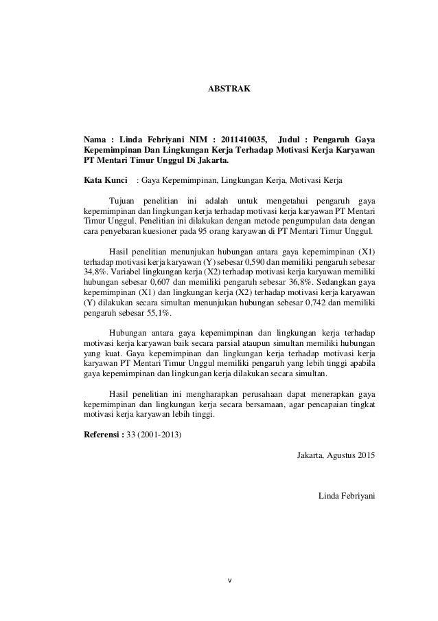 Skripsi Pengaruh Kepemimpinan Dan Lingkungan Kerja Terhadap Kinerja Karyawan Kumpulan Berbagai Skripsi