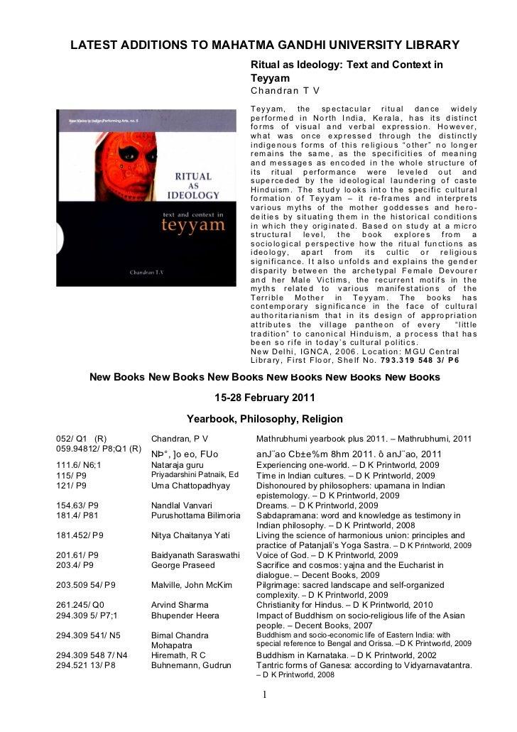 LATEST ADDITIONS TO MAHATMA GANDHI UNIVERSITY LIBRARY                                                   Ritual as Ideology...