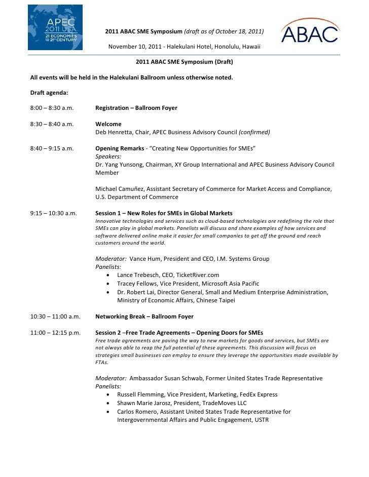2011 ABAC SME Symposium (draft as of October 18, 2011)                            November 10, 2011 - Halekulani Hotel, Ho...