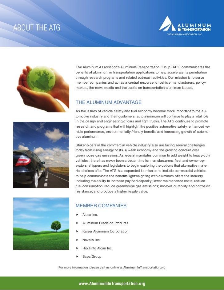 About the ATG                        The Aluminum Association's Aluminum Transportation Group (ATG) communicates the      ...