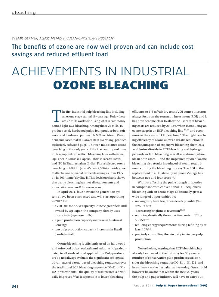 bleachingBy EMIL GERMER, ALEXIS MÉTAIS and JEAN-CHRISTOPHE HOSTACHYThe benefits of ozone are now well proven and can inclu...
