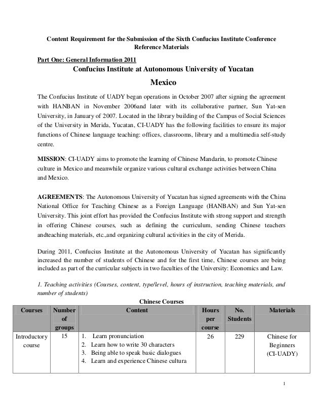 Content Requirement for the Submission of the Sixth Confucius Institute Conference Reference Materials Part One: General I...