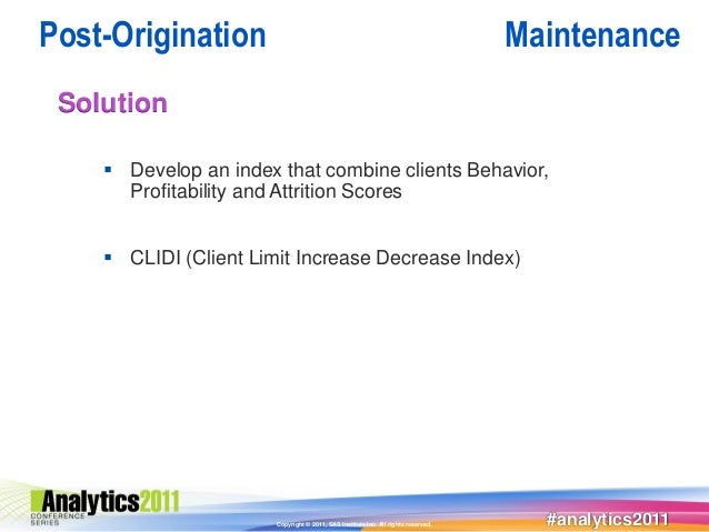 Post-Origination                                                                   Maintenance Solution     Develop an in...