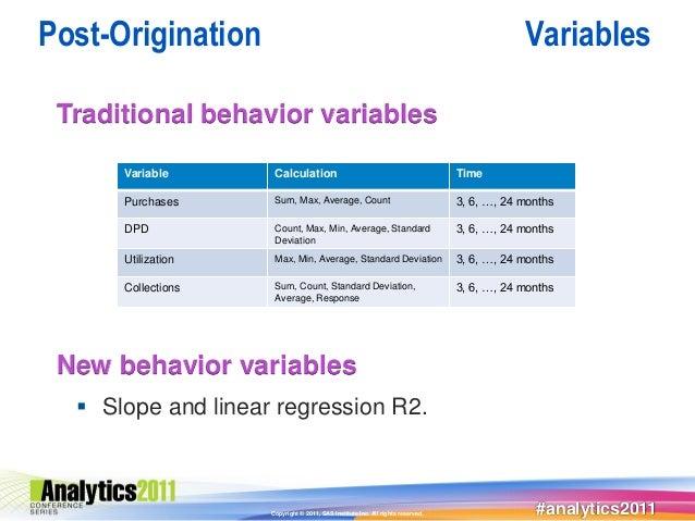 Post-Origination                                                                            Variables Traditional behavior...