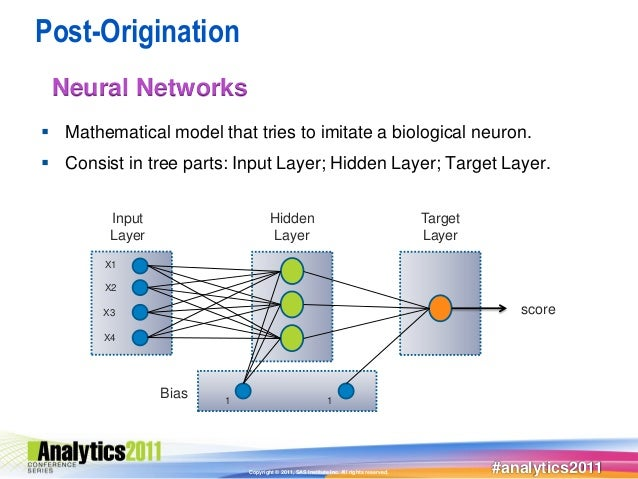 Post-Origination Neural Networks Mathematical model that tries to imitate a biological neuron. Consist in tree parts: In...