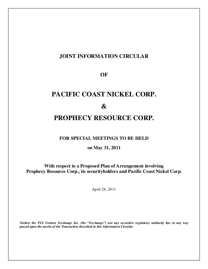 JOINT INFORMATION CIRCULAR                                                    OF                    PACIFIC COAST NICKEL C...