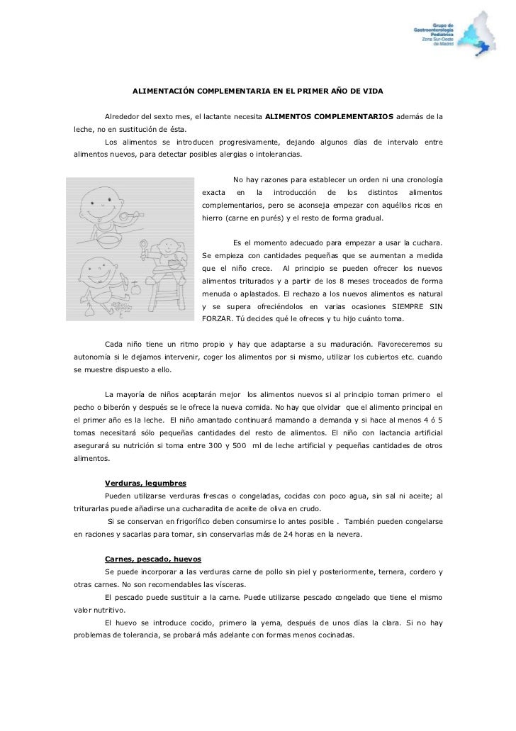 ALIMENTACIÓN COMPLEMENTARIA EN EL PRIMER AÑO DE VIDA         Alrededor del sexto mes, el lactante necesita ALIMENTOS COMPL...