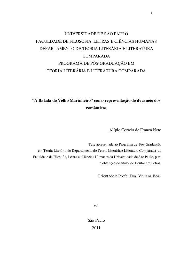 1                    UNIVERSIDADE DE SÃO PAULO FACULDADE DE FILOSOFIA, LETRAS E CIÊNCIAS HUMANAS    DEPARTAMENTO DE TEORIA...