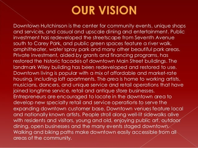 Downtown Hutchinson is the center for community events, unique shops and services, and casual and upscale dining and enter...