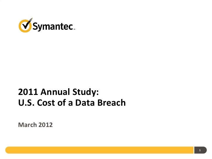 2011 Annual Study - U.S. Cost of a Data Breach - March 2012