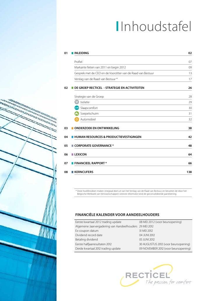 2011 Jaarverslag Recticel, Corporate Sectie Slide 3