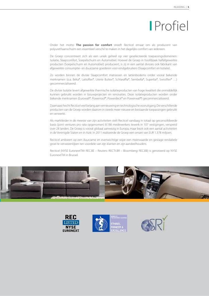 6 | RECTICEL | Jaarverslag 2011          Markante feiten van 2011                       en begin 2012                     ...