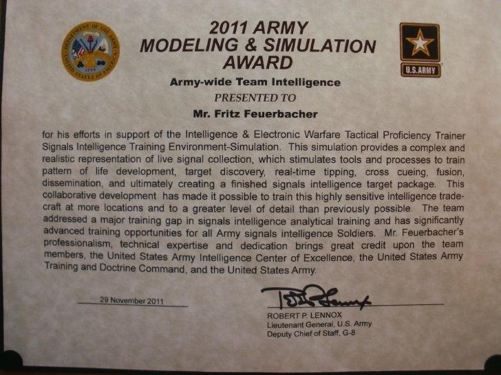 2011 Army Modeling and Simulation Award