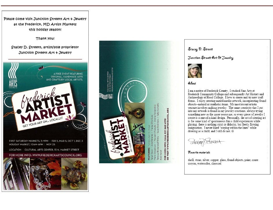 Please come visit Junction Streett Art & Jewelry     at the Frederick, MD Artist Markets              this holiday season!...