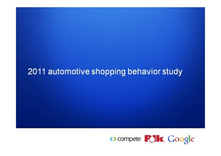 US automotive shopping behavior study 2011