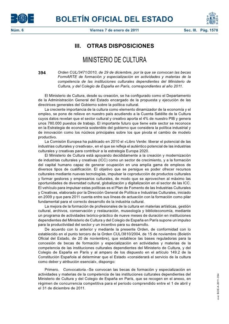 BOLETÍN OFICIAL DEL ESTADONúm. 6                                   Viernes 7 de enero de 2011                             ...