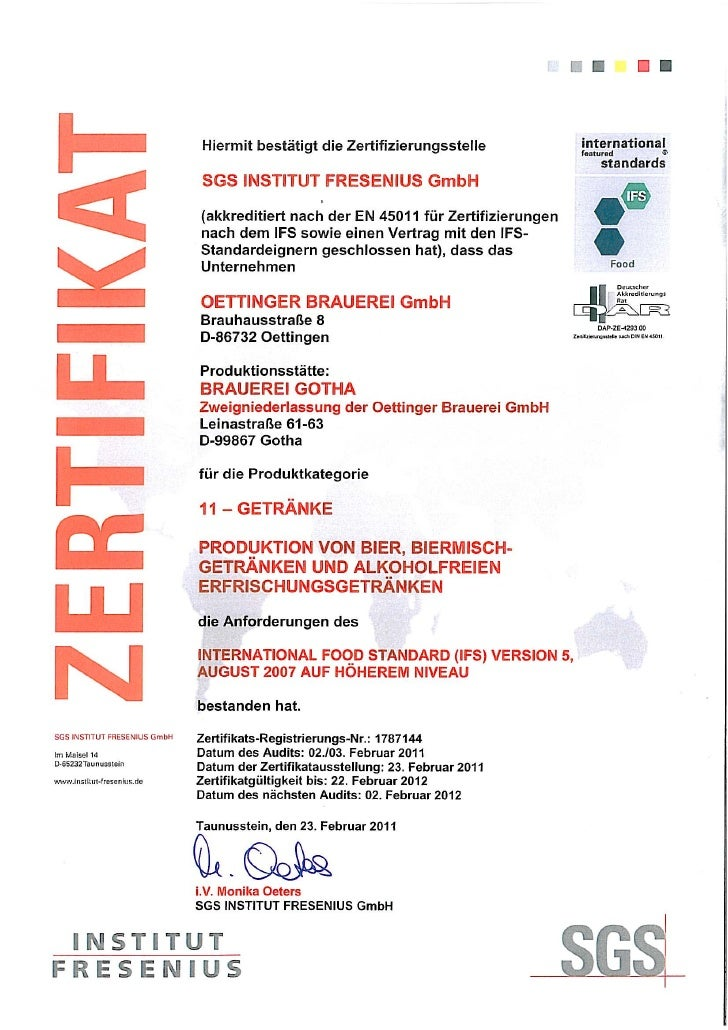 2011 Bg Ifs Zertifikat