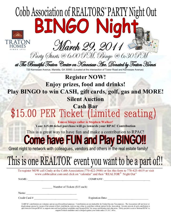 ®                   Register NOW!            Enjoy prizes, food and drinks!Play BINGO to win CASH, gift cards, golf, gas a...