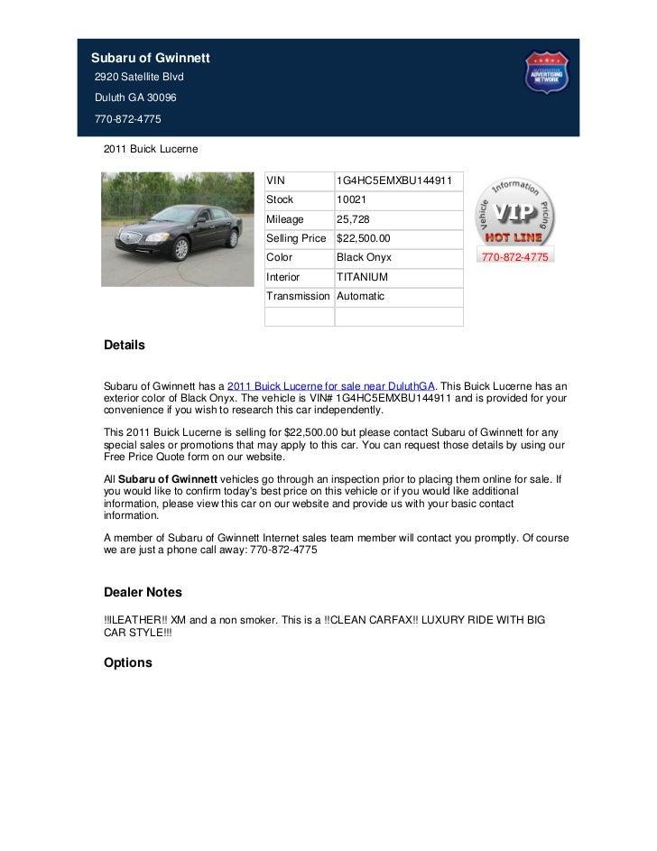 Subaru of Gwinnett2920 Satellite BlvdDuluth GA 30096770-872-4775 2011 Buick Lucerne                                   VIN ...