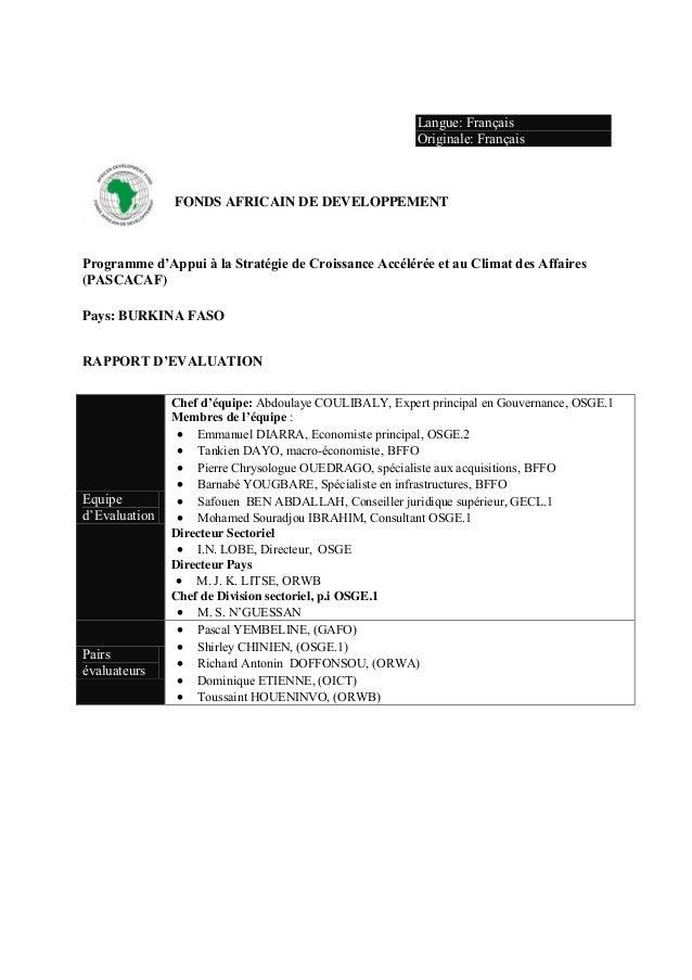Langue: FrançaisOriginale: FrançaisFONDS AFRICAIN DE DEVELOPPEMENTProgramme d'Appui à la Stratégie de Croissance Ac...