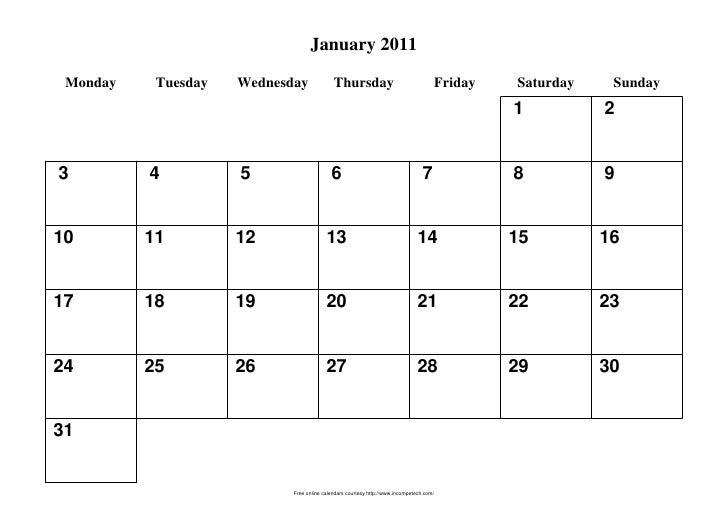January 2011 Monday    Tuesday   Wednesday              Thursday                                 Friday   Saturday    Sund...