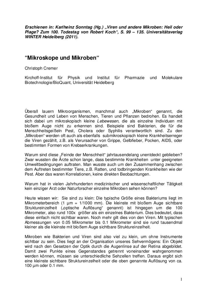 """Erschienen in: Karlheinz Sonntag (Hg.) """"Viren und andere Mikroben: Heil oderPlage? Zum 100. Todestag von Robert Koch"""", S. ..."""