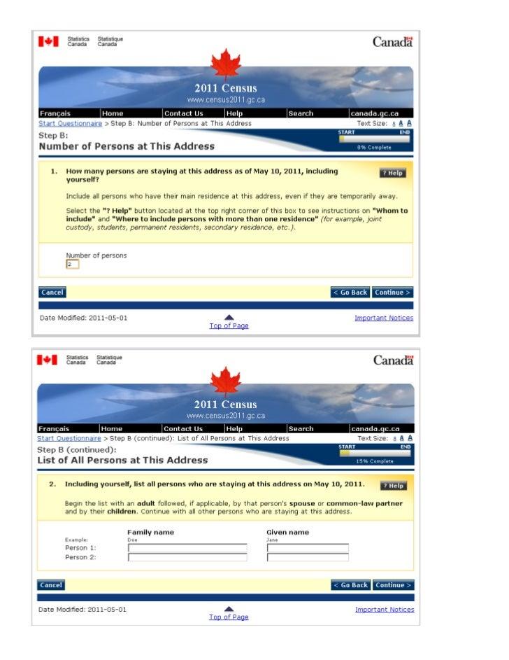 2011 Short Form Mandatory Canadian Census