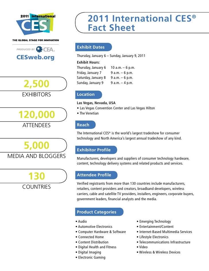 2011 International CES®                            Fact Sheet                     Exhibit Dates                     Thursd...