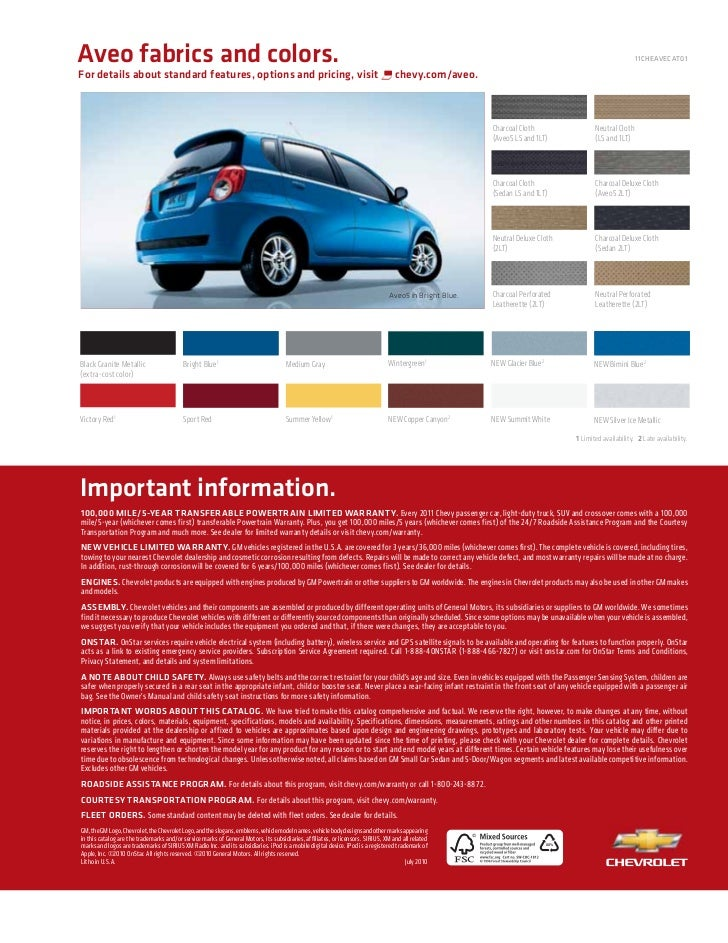 2011 Chevy Aveo Brochure