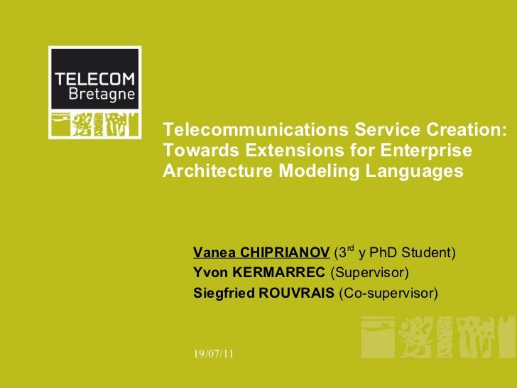 Telecommunications Service Creation:Towards Extensions for EnterpriseArchitecture Modeling Languages   Vanea CHIPRIANOV (3...