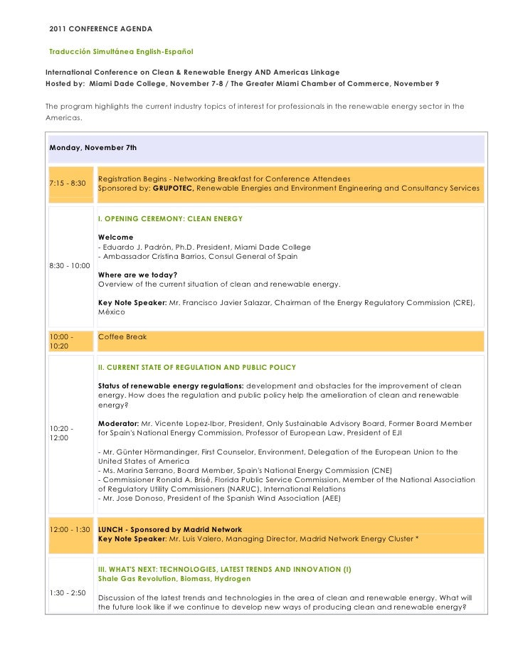 2011 CONFERENCE AGENDA Traducción Simultánea English-­EspañolInternational Conference on Clean & Renewable Energy AND Amer...