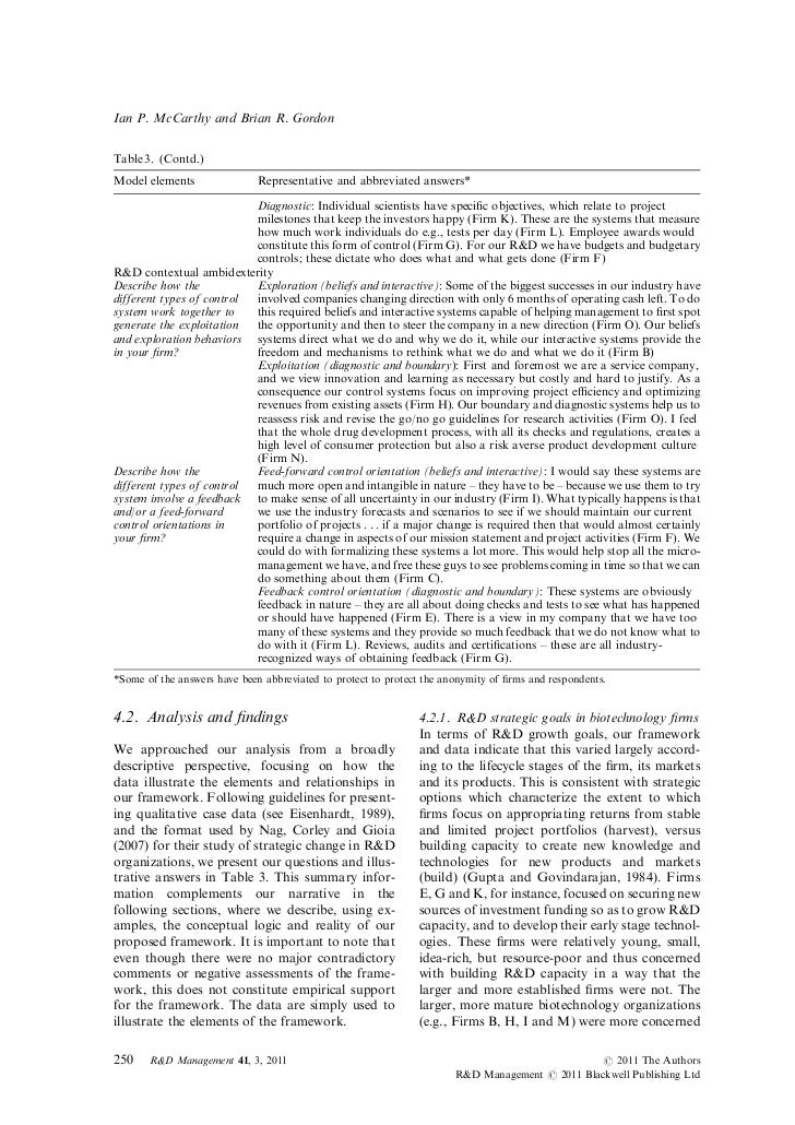 Ian P. McCarthy and Brian R. GordonTable 3. (Contd.)Model elements                Representative and abbreviated answers* ...