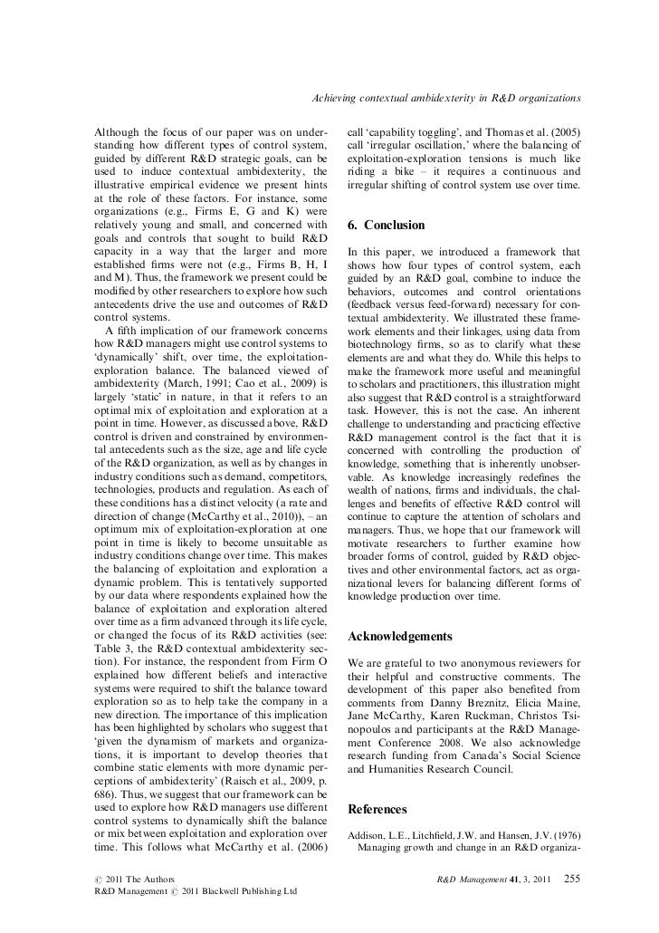 Achieving contextual ambidexterity in R&D organizationsAlthough the focus of our paper was on under-           call 'capab...