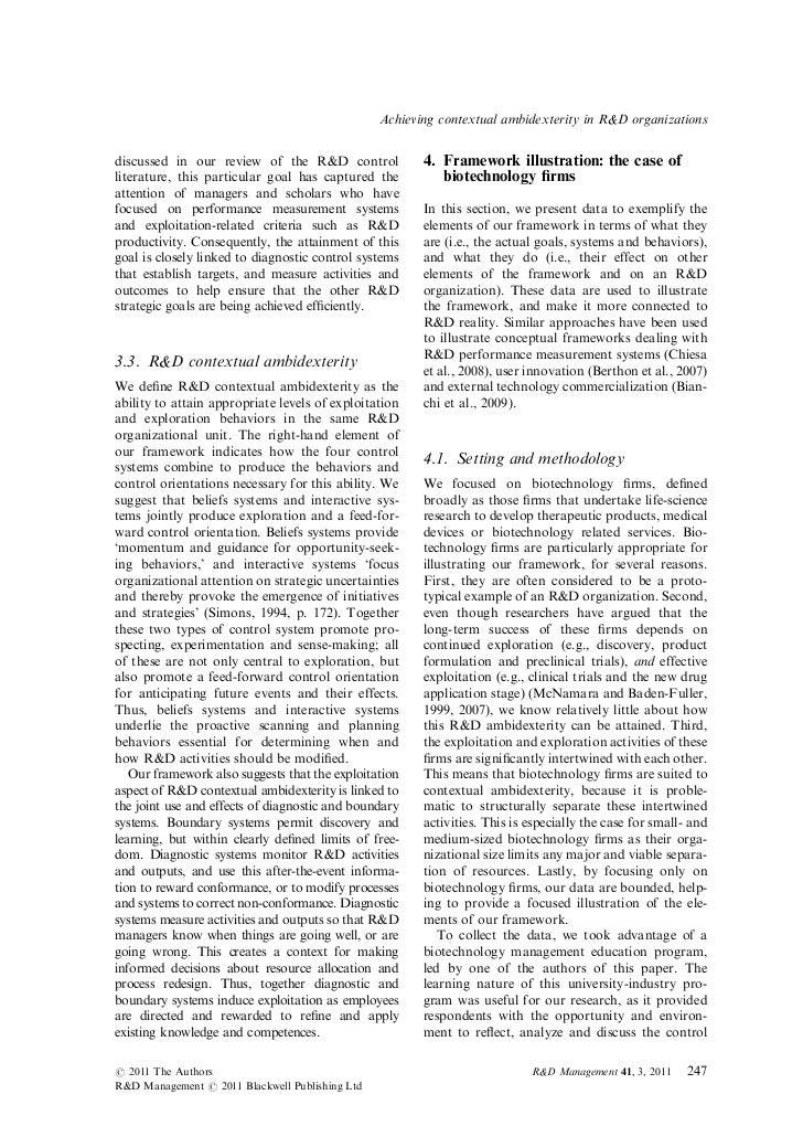 Achieving contextual ambidexterity in R&D organizationsdiscussed in our review of the R&D control              4. Framewor...