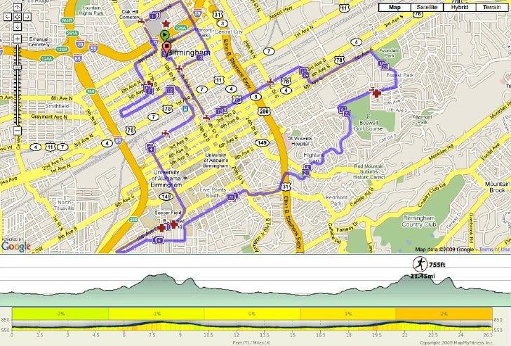 2011 Mercedes Marathon course map and elevation