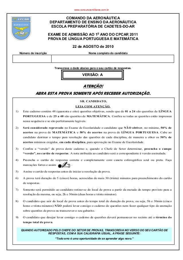 COMANDO DA AERONÁUTICA DEPARTAMENTO DE ENSINO DA AERONÁUTICA ESCOLA PREPARATÓRIA DE CADETES-DO-AR EXAME DE ADMISSÃO AO 1o ...
