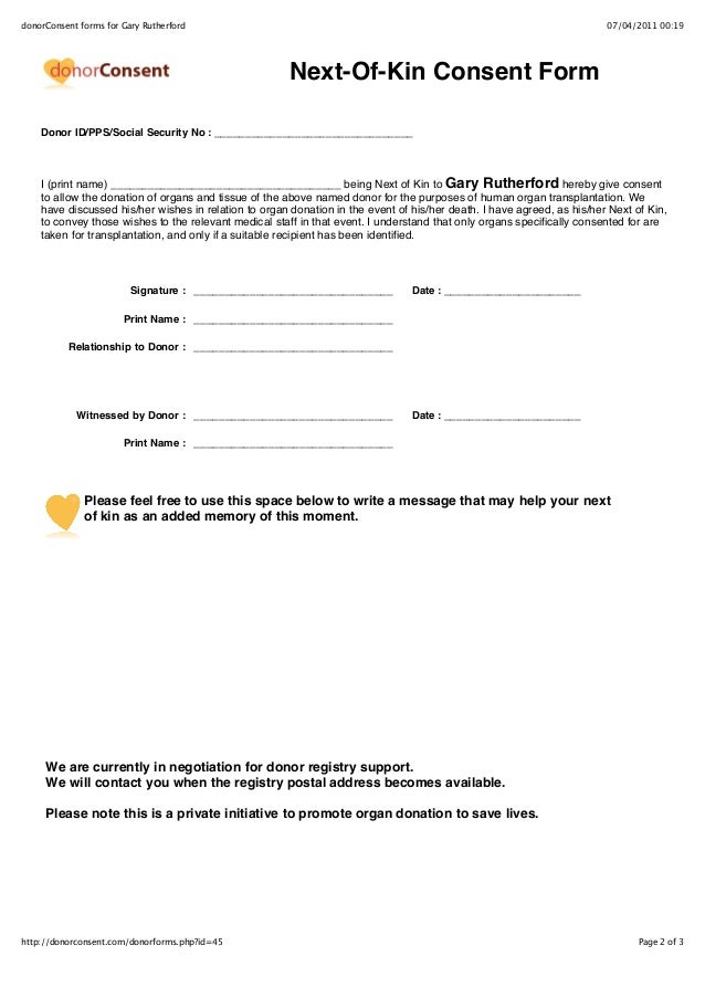 Sample Donor & Next of Kin Forms