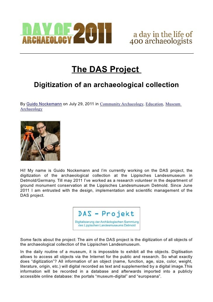 The DAS Project       Digitization of an archaeological collectionBy Guido Nockemann on July 29, 2011 in Community Archaeo...